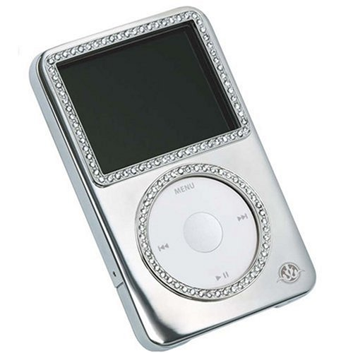 Gilty Couture Silver-plated Slider Case with Clear Swarovski Crystals for 80/120 GB iPod classic 6G