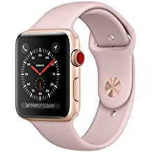 Apple Watch Series 3 42mm Smartwatch (GPS + Cellular, Gold Aluminum Case, Pink Sand Sport Band) (Certified Refurbished)