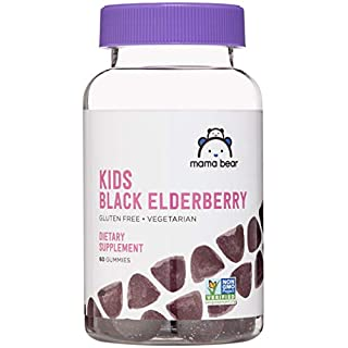Amazon Brand - Mama Bear, Vegetarian Kids Black Elderberry Gummies 300 mg with Vitamins C, D, E and Zinc - Immune System Support - 60 Gummies (1 to 2 Month Supply), Non-GMO, Gluten Free