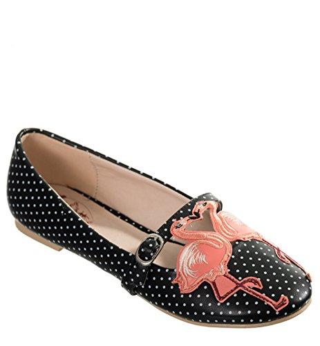 Dancing Days MAGIC Polka Dots FLAMINGO Punkte Riemchen BALLERINAS Rockabilly Schwarz mit weißen Dots / pinke Flamingos