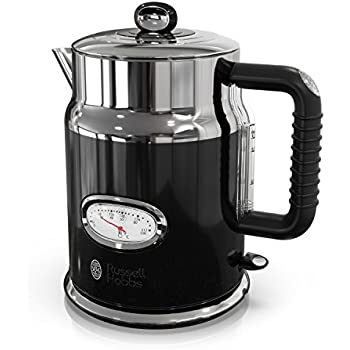 Retro Style Electric Kettle Black Stainless Steel Russell Hobbs Old fashioned looking electric kettle