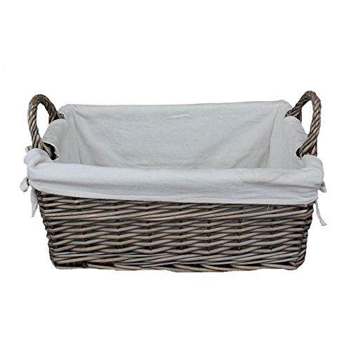 Medium Shallow Antique Wash Lined Storage Wicker Basket by Red Hamper
