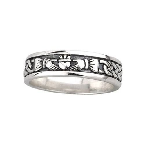Claddagh Band Ladies Oxidized Sterling Silver Sz 5
