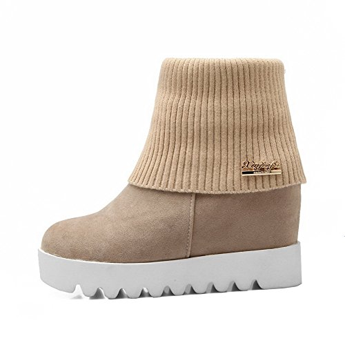 On AgooLar Round Low Top Beige Closed Heels Women's Toe Pull Solid High Boots 1pYXpr4q