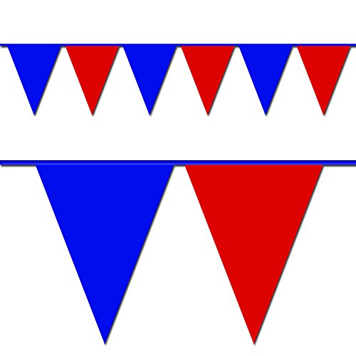(Ziggos Party Blue and Red Triangle Pennant Flag 100 Ft.)