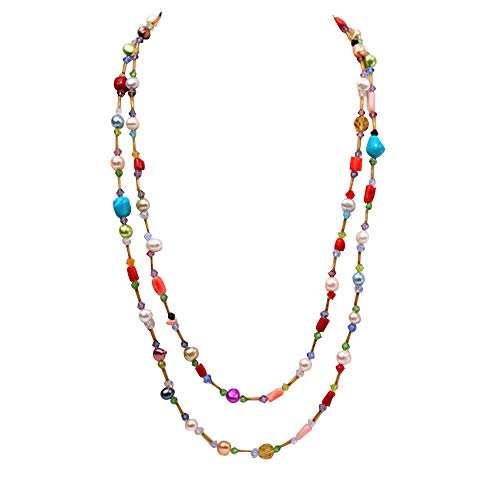 JYX Pearl Long Strand Necklace 6-7mm Colorful Freshwater Pearl with Irregular Coral Opera Necklace