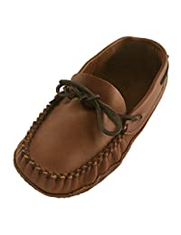 WAKONSUN Men's Wide Width Earthing Grounding Natural Brown Leather Moccasins (10)