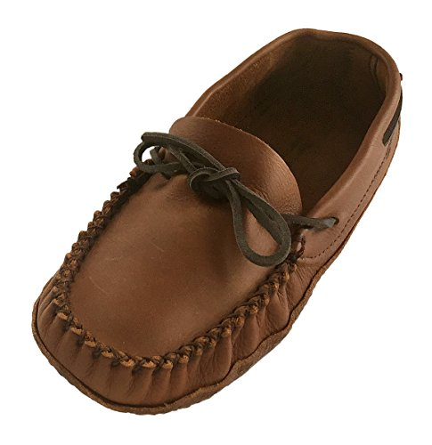 Sole Double Moccasins - Wakonsun Men's Wide Width Earthing Grounding Natural Brown Leather Moccasins (10)