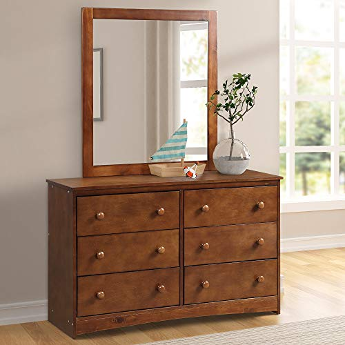 Dresser Round Set - Harper&Bright Designs Vanity Set 6-Drawer Dresser and Mirror Set with Round Wooden Knobs Vanities