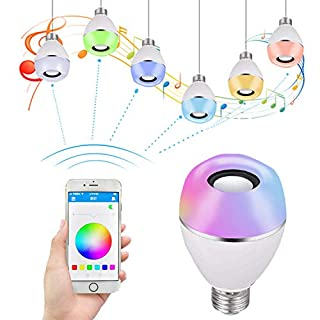 Bluetooth Speaker Led Light, Wireless E27 E26 Smart LED Light Bulbs Lamp Lighting with RGB Color Changing/Music Player/Smartphone App Controlled for Home-White