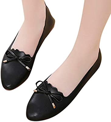 HunYUN Women's Fashion Spring Autumn Casual Peas Single Shoes Shallow Mouth Flat Bow Lazy Shoes Suitable for All Occasions