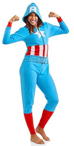 Captain America Marvel Women's Cozy Union Suit Pajamas Sleepwear (X-Small) Blue -