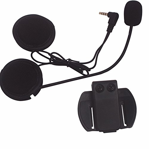 Intercom Microphone & Headset + Helmet Clip, Evary V6 Bluetooth Interphone Accessories Replacement Parts by Evary