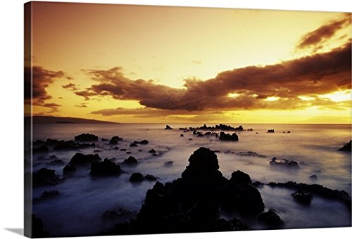 Hawaii, Maui, Sunset Over Rocky Beach, Kahoolawe And Molokini Islands In Distance Gallery-Wrapped Canvas