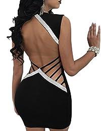 Imagine Women's Deep V Neck Open Back Ladder Bodycon Mini Dress