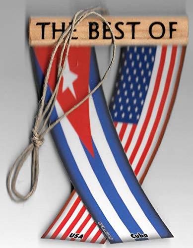 UNITY FLAGZ Cuba and USA Cuban American Caribbean Flag Rear View Mirror Hanging CAR Flags Mini Banners for Inside The CAR