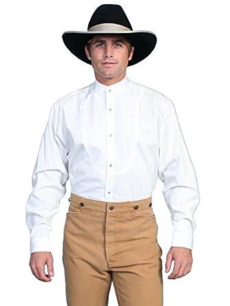 Victorian Men's Shirts- Wingtip, Gambler, Bib, Collarless Tone On Dobby Stripe Long Sleeve Shirt  AT vintagedancer.com