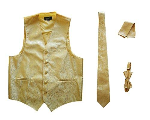 Amanti - Mens 4pc Set Paisley Tuxedo Vest Vest / Tie / Hanky / Bow Tie