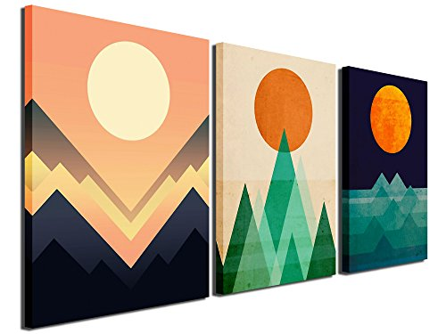 Gardenia Art - Abstract Sunrise and Sunset Canvas Prints Wall Art Paintings Abstract Geometry Wall Artworks Pictures for Living Room Bedroom Decoration, 16x12 inch/Piece, 3 Panels