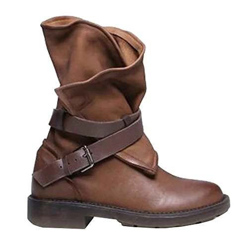 Syktkmx Womens Wide Calf Cowboy Boots Riding Motocycle Adjustable Strap Mid Calf...