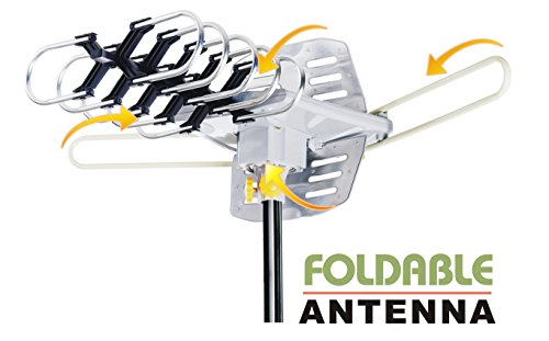 Amplified HD Digital Outdoor HDTV Antenna with Motorized 360 Degree Rotation, UHF/VHF/FM Radio with Infrared Remote Control for 2 TVs -Installation Kit