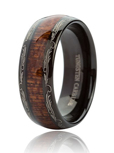 Just Lsy Mens Womens Nature 8mm Black Tungsten Carbide Ring Koa Wood Inlay Dome Edge Wedding Band Comfort Fit Size ()