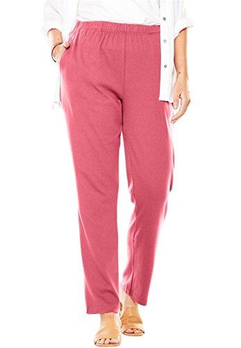 Woman Within Plus Size Petite 7-Day Knit Straight Leg Pant - Begonia, L