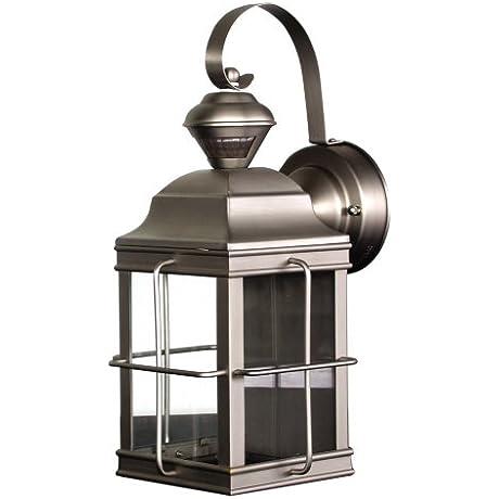 Heath Zenith SL 4144 NB Motion Sensing 4 Sided New England Style Lantern Brushed Nickel