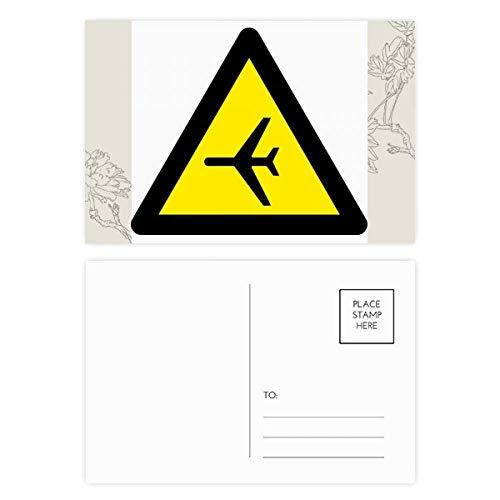 Warning Symbol Yellow Black Plane Triangle Flower Postcard Set Thanks Card Mailing Side 20pcs by DIYthinker