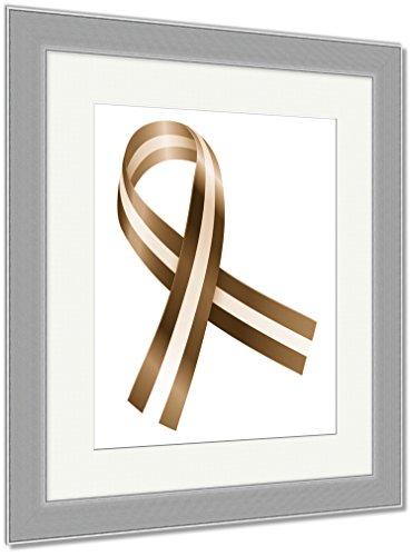 Ashley Framed Prints Ribbon, Wall Art Home Decoration, Sepia, 35x30 (frame size), Silver Frame, - Campaign Silver Ribbon