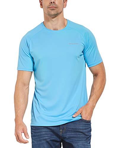 Baleaf Men's UPF 50+ Outdoor Running Workout Short-Sleeve T-Shirt Blue Size XXL
