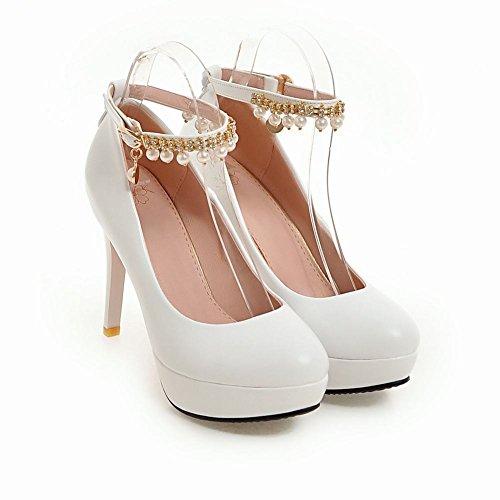 Mee Shoes Women's Charm Ankle Strap Stiletto Court Shoes White cvIzrMd