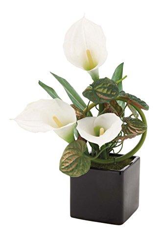 Calla Lily Garden Glass - Deco 79 63600 Pvc Calla Lily Ceramic Pot, 11