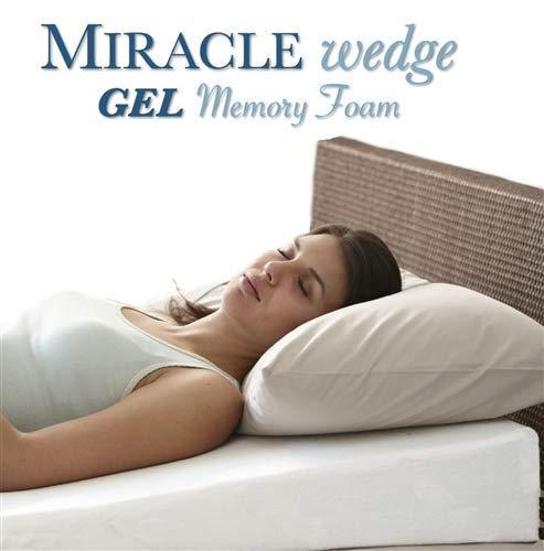 Gel Memory Foam Wedge Pillow for Acid Reflux. Cool Temp Wedge Pillow for Gerd, Snoring. 24