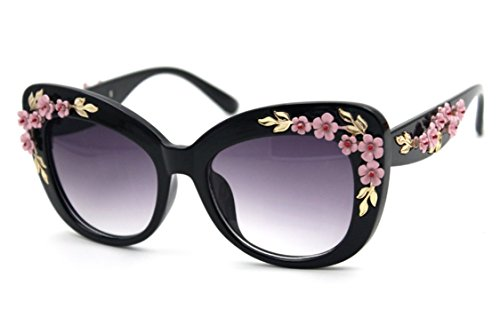 Flowertree Women's S4230B2 Plastic Floral Embellished Party Novelty Cat Eye 53mm Sunglasses - Sunglasses Embellished