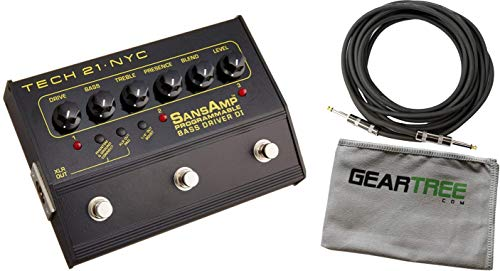 Tech 21 SansAmp Programmable Bass Driver DI Pedal Bundle w/Cable and - Tech Engine Power 21