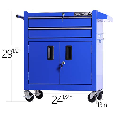 TANKSTORM Tool Chest Heavy Duty Cart Steel Rolling Tool Box with Lockable Drawers and Doors (TZ12A Blue) by TANKSTORM (Image #1)