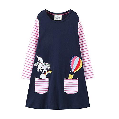 Mono Larga 2019 Unicornio Vestido Manga Azul Fiesta Para Conjunto Niña Bautiz Marino paolian Rayas Bebe 18 Princesa 7 Verano Mariposas Cumpleaños Meses Nina Primavera Años Estampado OOqRwC