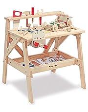 Melissa & Doug Wooden Project Solid Wood Workbench, Pretend Play, Sturdy Wooden Construction, Storage Shelf