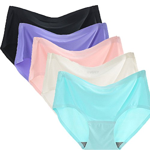 ec2e924013 Warm Sun Womens Seamless Ice Silk Sexy Soild Color Plus Size Full Coverage  Panties Pack of