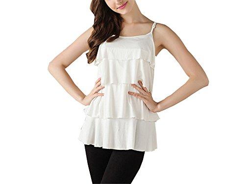 ELEKIKIL Donna Estive Fionda Top Premaman Comoda Morbidi Allattamento Maglietta Senza Maniche Casual Moda T-Shirt L'Allattamento Elegante Puro Colore White