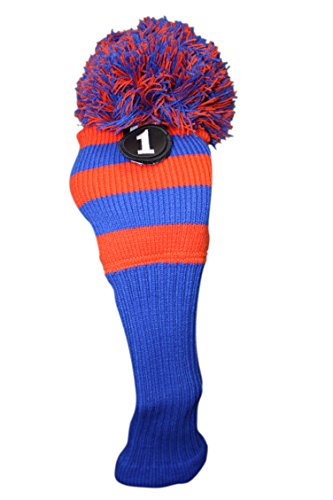 Majek Golf Club #1 Orange Blue Limited Edition Driver Head Cover Fits 460cc Drivers Tour Knit Retro Vintage Pom Pom Classic Long Neck Headcover