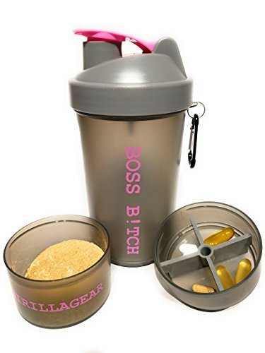 BOSS B!TCH Shaker Cup, Pink and Gray, Pill Storage, Powder storage, Great bottle for mixing your protein or just water