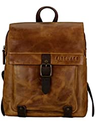Finelaer Vintage Genuine Leather Backpack DayPack Travel College Bag Brown Men Women