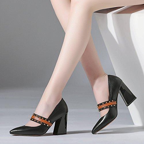 Europe États Rugueux en De Chaussures Travail Chaussures Femmes Pointues Et Rivets Black Cuir Unis Les Chaussures Femmes Hauts Talons Simples qxEwpOCxf