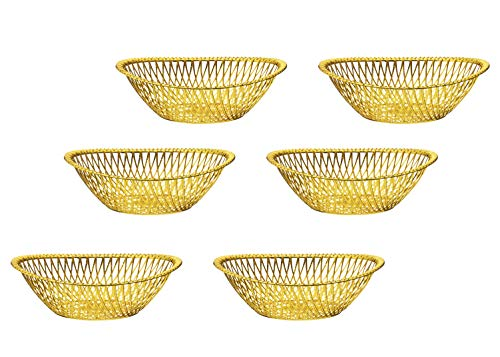 Impressive Creations Reusable Decorative Serving Basket - Plastic Fruit Basket with Elegant Gold Finish - Functional and Modern Weaved Design - 6pk