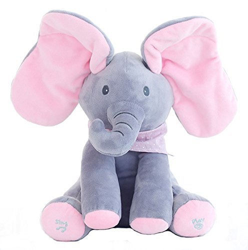BESTB Peek-a-Boo Elephant Animated Talking Singing Stuffed Plush Elephant Stuffed Doll Toys Kids Gift Present Boys & Girls Birthday Xmas Gift ()