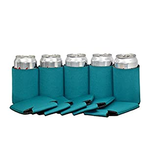 Premium Blank Can Coolers Sleeves Soft Drink Collapsible Insulator Coolers (25, Teal)