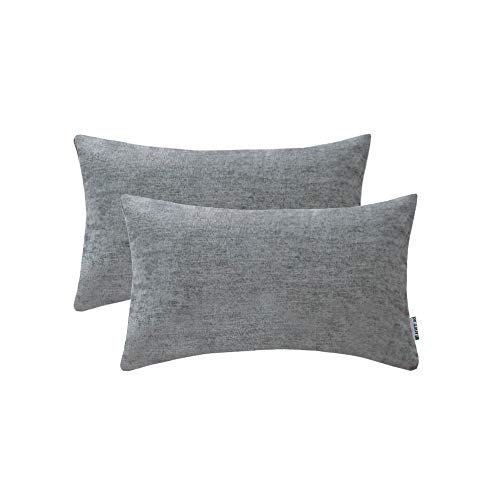 Toss Pillow Decorative Rectangle (HWY 50 Cotton Linen Soft Comfortable Natural Soild Decorative Rectangle Throw Pillows Covers Set Cushion Case for Couch Sofa Bed Living Room Grey Gray 12 x 20 Inches Pack of 2 Pillowcases)