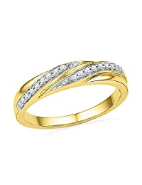 10kt Yellow Gold Womens Round Diamond Simple Band Ring 1/10 Cttw = 0.1 (I2-I3 clarity; J-K color)